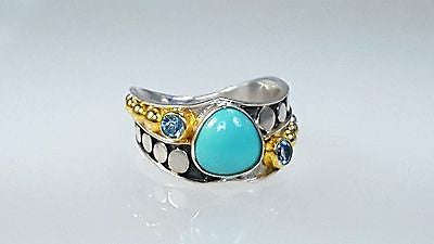 Turquoise, designer, Michou, handmade, ring, Sterling silver,