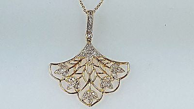 14k yellow gold Diamond pendant fan style