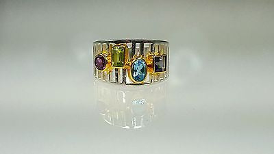 Sterling silver ring with semi precious color stones
