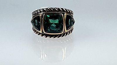 Sterling Silver & 18k Y/G ring with Green Quartz.