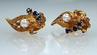 Antique, pearl & sapphire, clip, earrings,