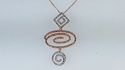 rose gold & white gold diamond free style pendant scroll style