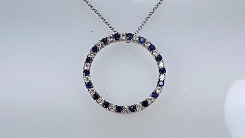 Natural Sapphire & diamond pendant 14k white gold