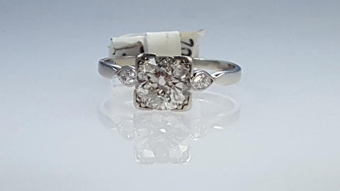 Antique Edwardian Platinum diamond engagement ring Estate jewelry