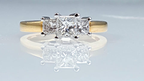 Three 3 Princess cut diamond engagement ring 1.00ct tw