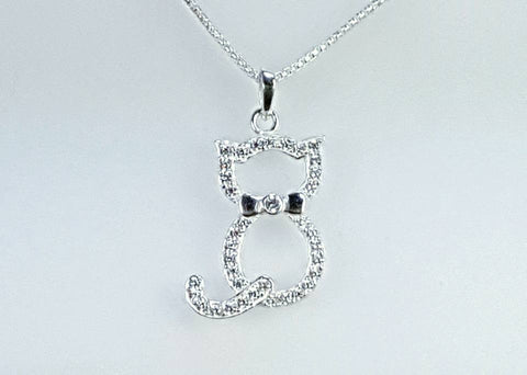Sterling silver sitting cat pendant with CZ