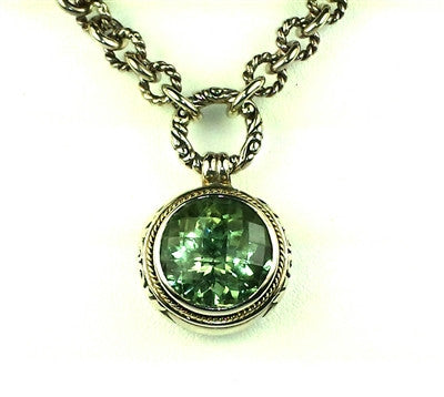 Sterling silver & 18k gold Green Amethyst Necklace.
