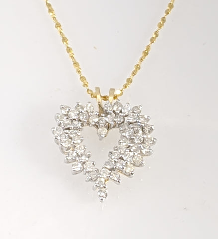 Diamond heart pendant 14k yellow gold