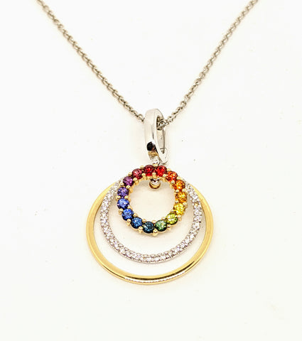 Rainbow (Multi color) Sapphire & diamond pendant