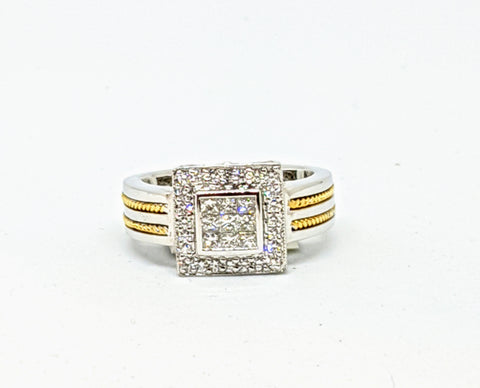 Invisible set, two tone gold, Diamond ring