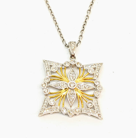 New! Diamond filigree pendant, 14k two tone gold