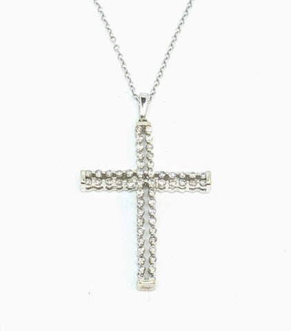 Diamond cross necklace, 10k white gold