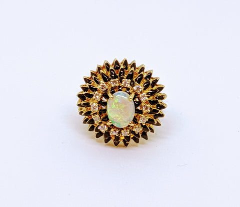 Vintage Opal & diamond ballerina ring