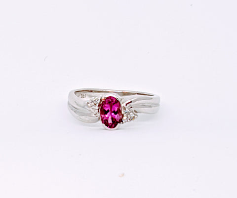 Pink Tourmaline & diamond ring, white gold