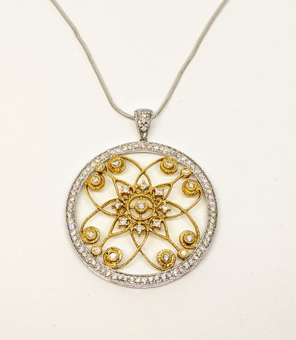 Two tone gold diamond filigree necklace.