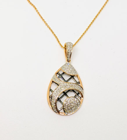 Rose gold diamond pave set necklace.