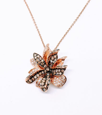 Champagne and Chocolate color diamond flower pendant in Rose gold