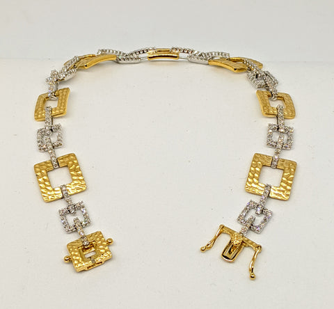 Diamond hammered finish link bracelet, one carat, two tone gold