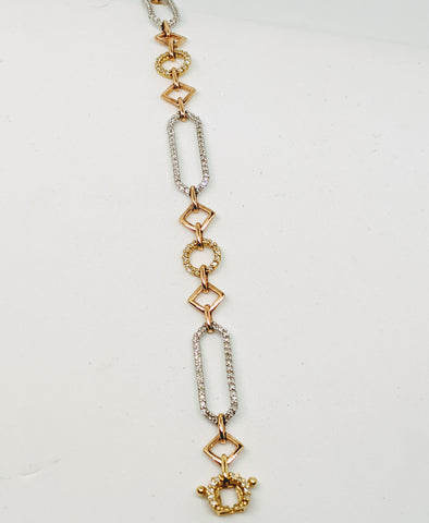 Tri color diamond bracelet 14k