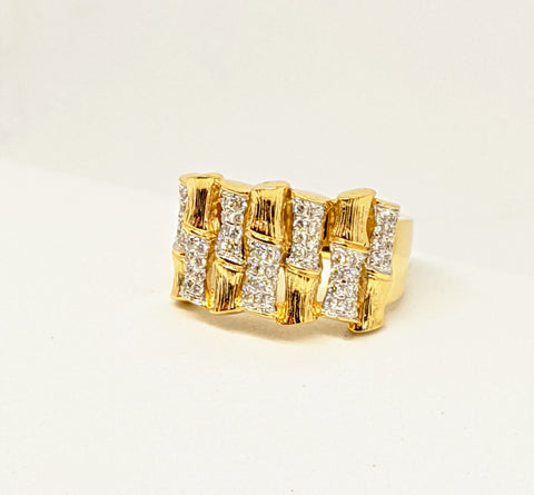 Diamond ring 1/2ct, bamboo design