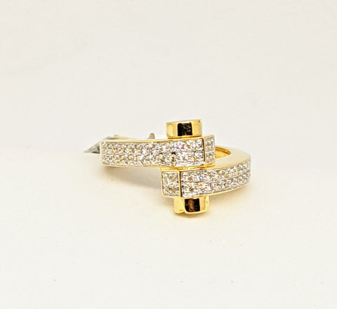 Fancy micro pave diamond ring