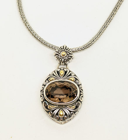 Samuel B. Sterling silver & 18k smokey Quartz necklace.