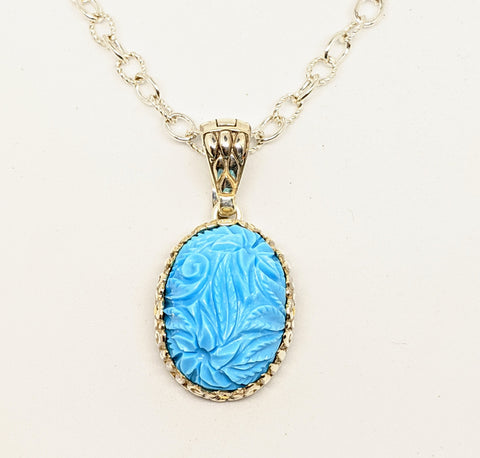 Turquoise sterling Silver & 18k gold Necklace, hand carved