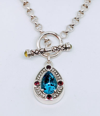 Blue topaz necklace.