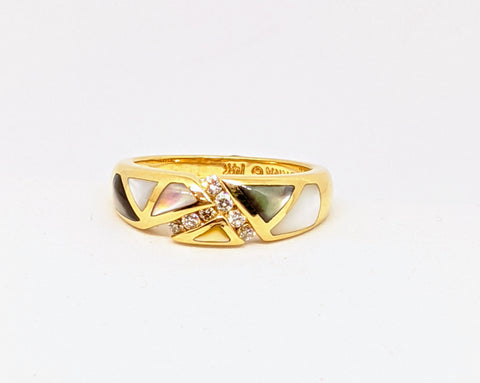 "Handmade Designer ""Kabana"" multi color Mother of pearl ring"