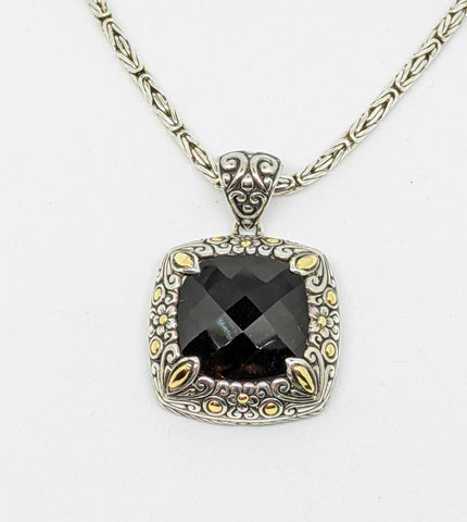 Sterling silver & 18k gold Smokey Quartz Necklace