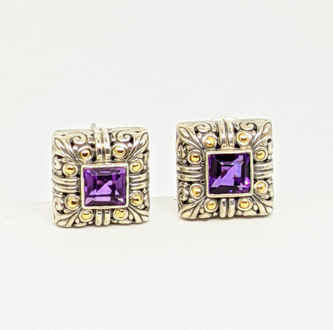 Amethyst earrings, Sterling silver & gold from Cydonia