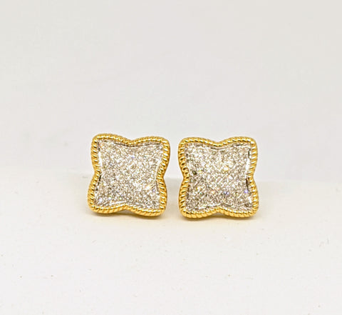 Micro pave set diamond earrings, Two tone gold