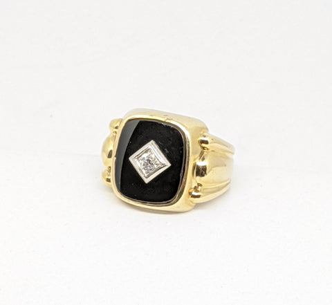 Vintage Men's large Onyx & Diamond ring