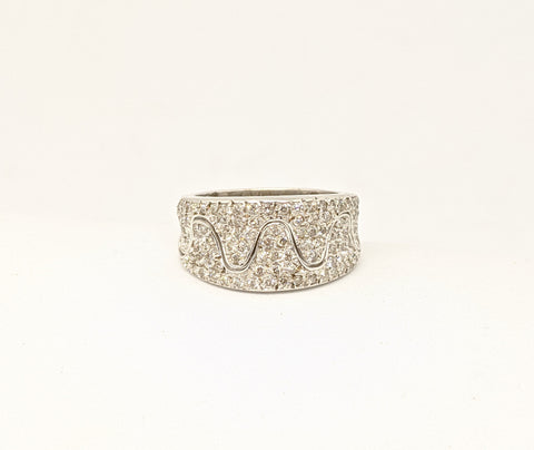 Diamond pave set ring, 18k white gold, One carat diamonds