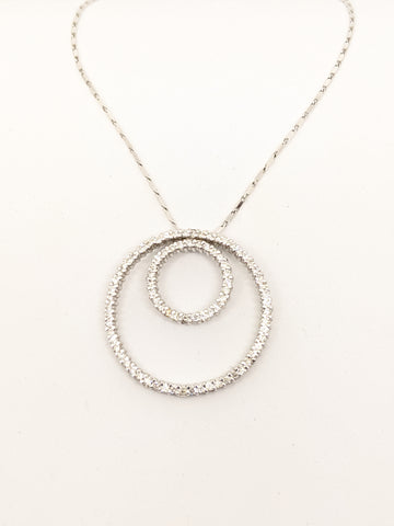 Diamond double circle necklace 1.50ct total weight