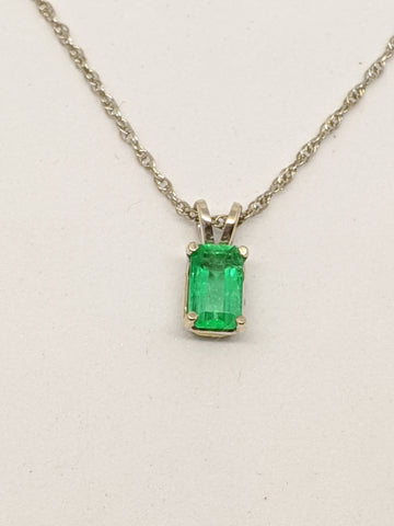 Emerald pendant, White gold