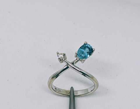 Blue Zircon (Natural) & Diamond ring