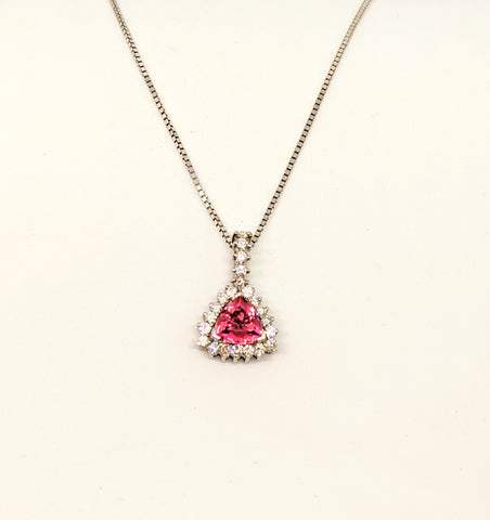 Pink Tourmaline & Diamond Necklace
