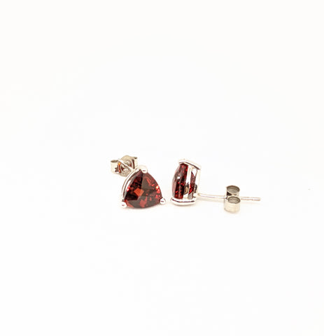 Garnet Stud Earrings, Triangle cut