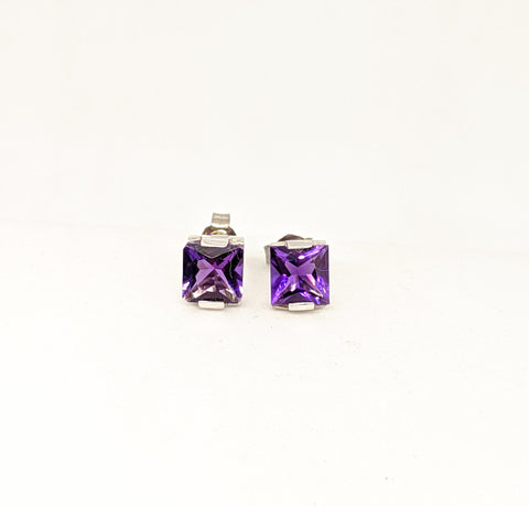Princess cut Amethyst stud earrings