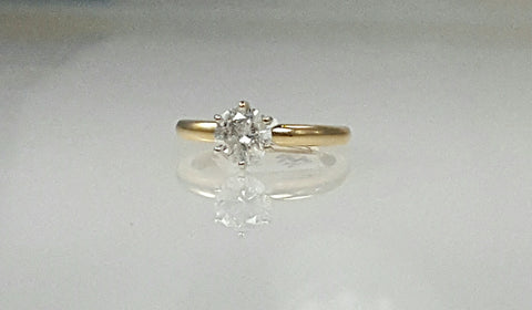 Yellow gold 0.50ct diamond solitaire engagement ring