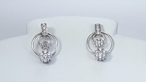 Cluster, diamond, earrings, screw back, white gold,