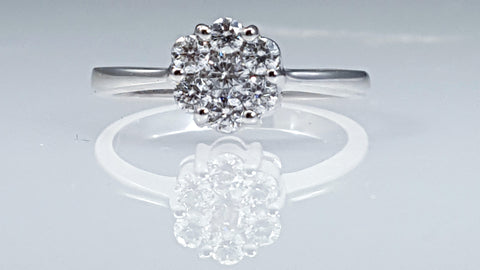 Engagement ring, cluster, pave, Diamond ring, 14k, white gold,