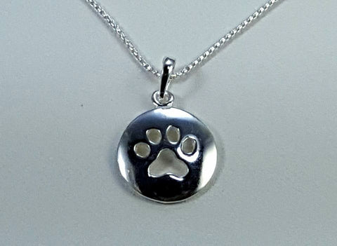 Sterling silver paw print disc pendant