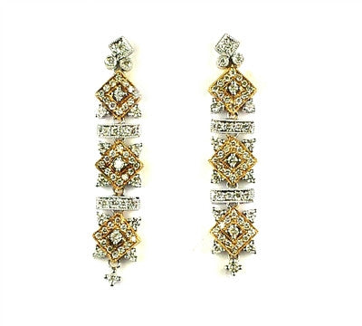14k Two tone, diamond, earring,