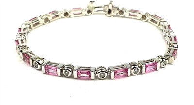 Pink Quartz, diamond, white gold, tennis bracelet,