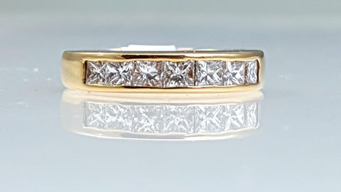 Channel set 14k yellow gold Princess cut diamond wedding band