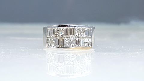 Invisible, diamond, wedding, anniversary, band, Emerald cut, Princess cut,