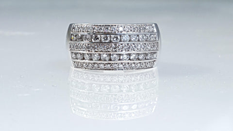 Multi row channel set diamond ring with 1.00ct diamonds.