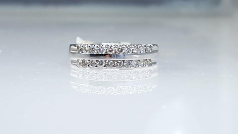 Double row diamond wedding & anniversary band